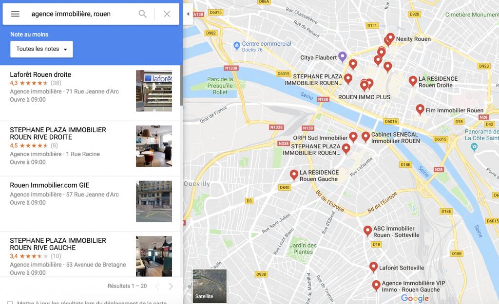 Agences Immobilières à Rouen - Google Map